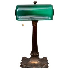 "Green Shade Banker's Desk Lamp signed ''Verdelite"", circa 1917"