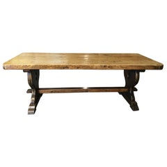 Incredible Antique Rustic French Trestle Farm Table