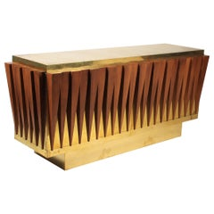 Extraordinary Brass and Walnut Credenza Custom-Made for a Hotel in Italy