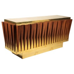 Extraordinary Brass and Walnut Credenza Custom Made for a Hotel in Italy