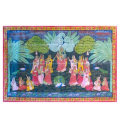 Vintage Hindu Indian Temple Festival Painted Wall Hanging
