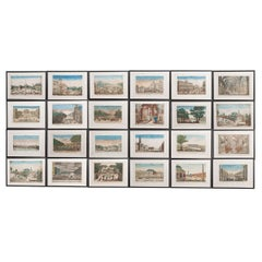 Suite of Twenty-Two French 18th Century Hand Colored Vue d'Optique Etchings
