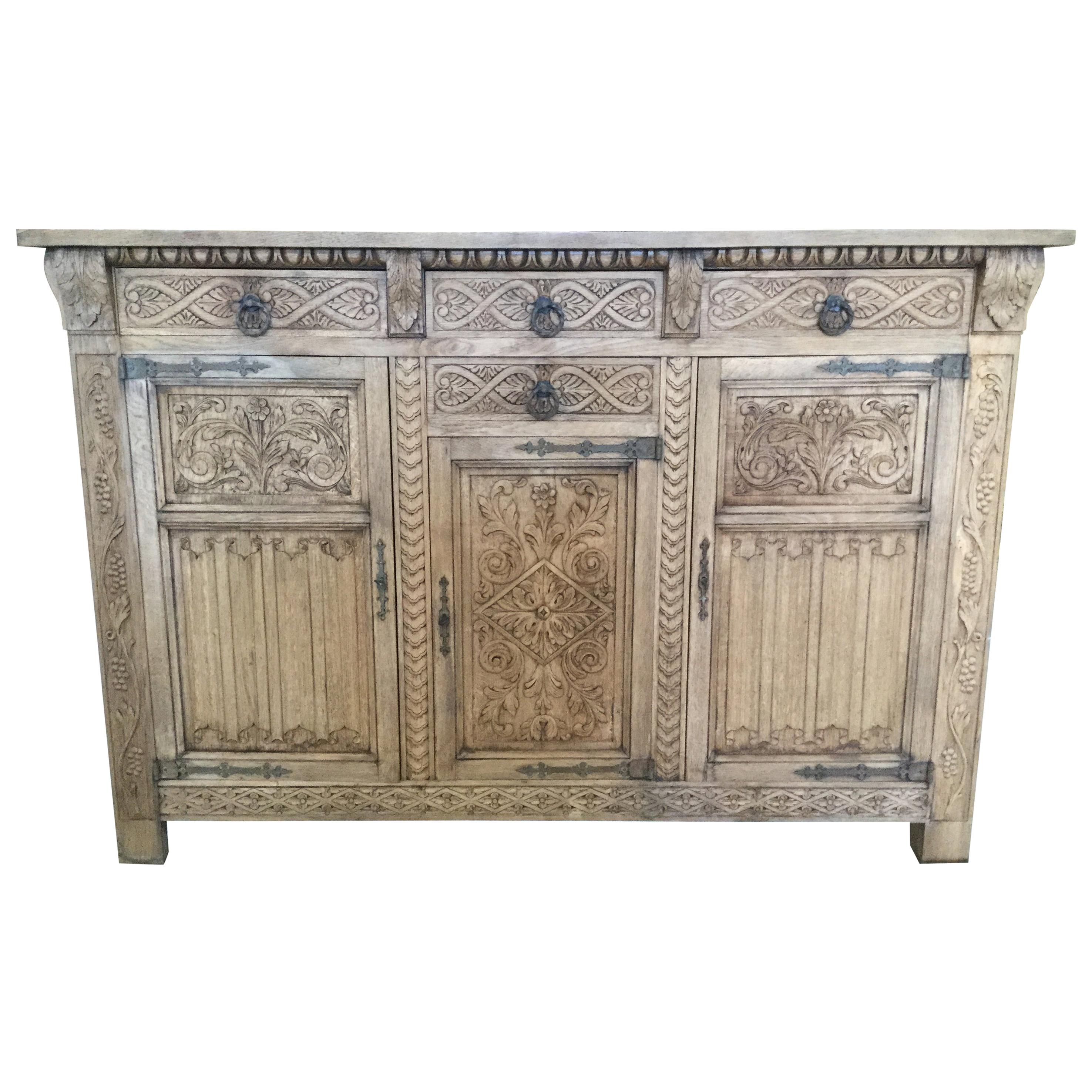 Superbe Meticulously Carved Bleached Wood French Buffet Credenza For Sale
