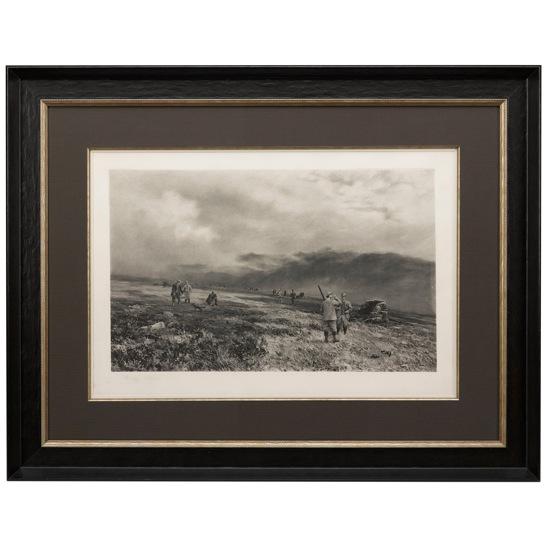 Douglas Adams Signed Antique Print, Hunting Scene, Artist Proof, circa 1893