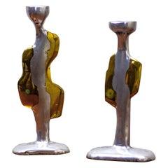 Pair of David Marshall, Brutalist Candlesticks in Aluminium and Cast Brass