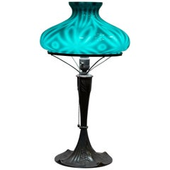 Art Nouveau Table Lamp with Spider Shade by Emeralite