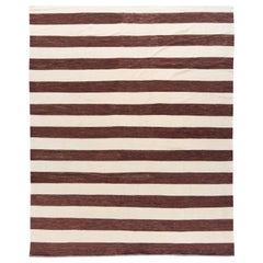 Contemporary Brown & White Striped Kilim Flatweave Wool Rug