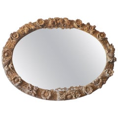 Italian 1970s Oversized Hand Carved Oval Wood Mirror Frame with Aged Glass