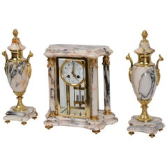 Japy Freres Ormolu and Marble Four Glass Crystal Antique French Clock Set