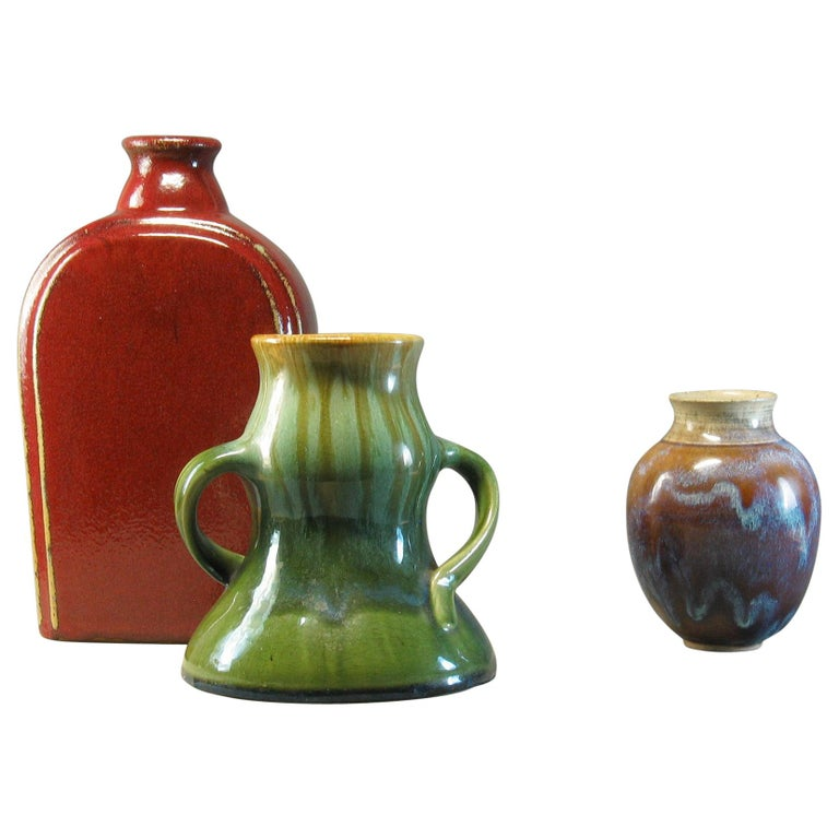 Group of Three 20th Century Art Pottery Pieces For Sale