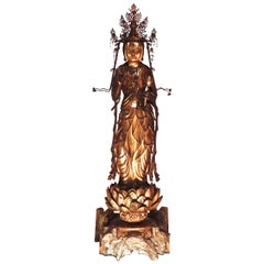 Antique Japanese Buddhist Gilded Wood Kannon Sculpture