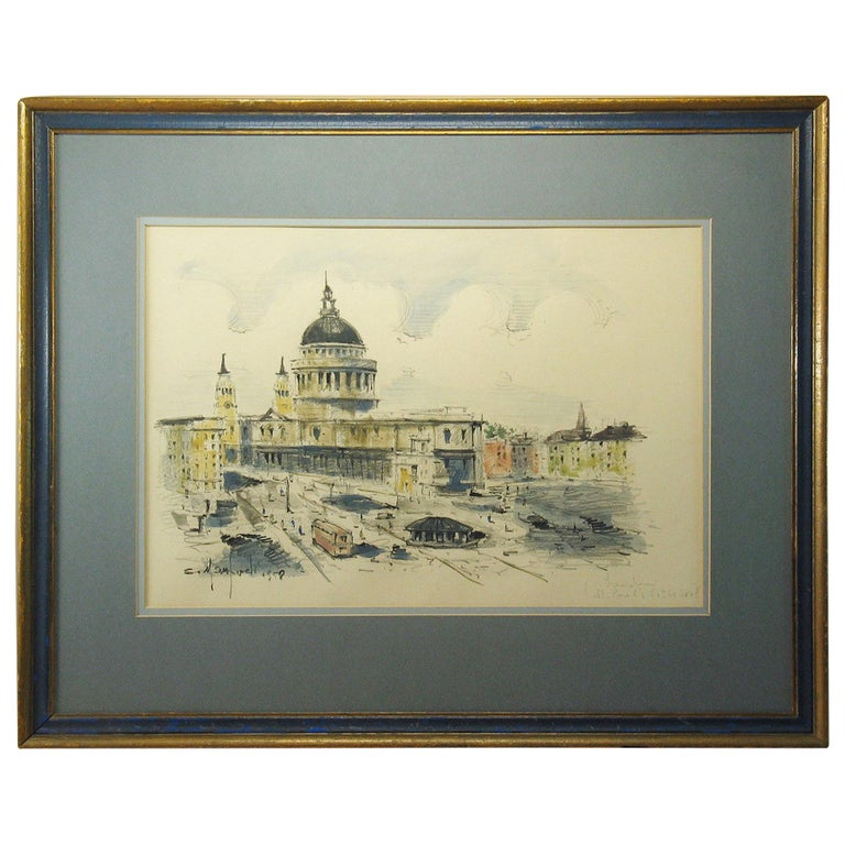 Watercolor of St. Paul's Cathedral in London Sergio Manfredi, Italian For Sale