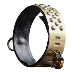 Late 19th Century Nickel-Plated Dog Collar with Original Padlock and Key