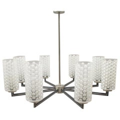 Rare Ceiling Lamp with 8 Bubbled Glass Shades, Kaiser Leuchten Germany, 1960s