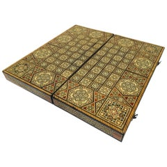 Large Mosaic Syrian Backgammon and Chess Wooden Inlaid Marquetry Box Game