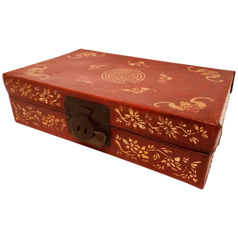 Chinoiserie Leather Red and Gilt Hand Painted Box For Sale