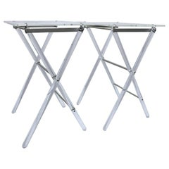 Lucite Folding Tables with Lucite Stand