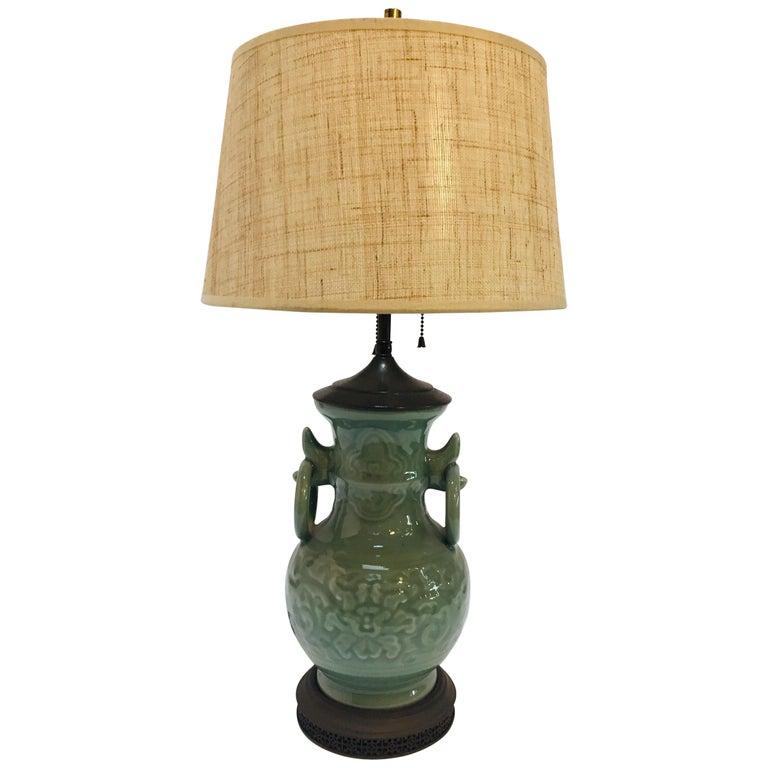 Vintage Asian Oriental Chinese Glazed Green Jade Vase Porcelain Lamp