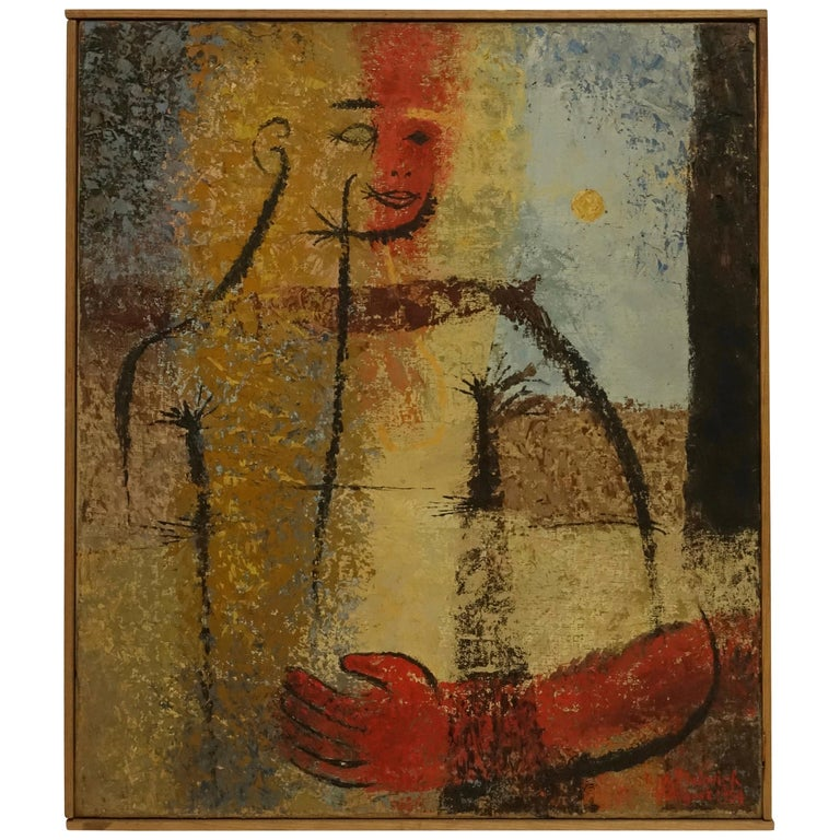 Midcentury Abstract Portrait Painting of a Woman, American, 1954 For Sale