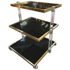 Italian Blu Vintage Lucite and Brass Bar Cart, 1970s