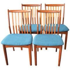 Svend Madsen Set of 4 Danish Teak Dining Chairs with Bent Backs & New Teal Tweed
