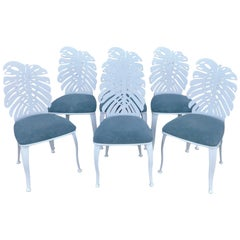 Six 1970s Wrought Iron Palmette Chairs, Restored