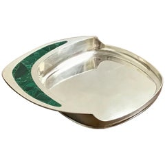 Midcentury Cartier Sterling and Malachite Wine Coaster