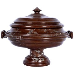Substantial Grand Tour Carved Marble Covered Urn