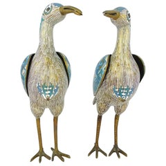 Pair of Chinese Cloisonné Large Bird Form Vessels
