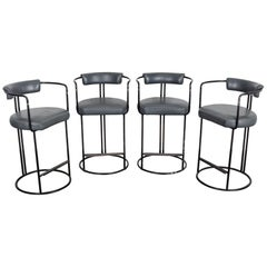 Set of 4 Black Painted Tubular Steel Bar Stools in Original Grey Leather
