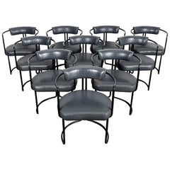 Set of 10 Black Lacquered 1970s Metal Dining Chairs with Original Grey Leather