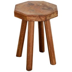 Swedish Solid Oak Octagonal 4 Legged Milking Stool