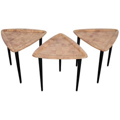Set of 3 Triangular Top Stacking End Tables with Oak Patchwork Molded Wood Tops