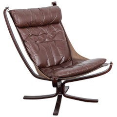 Brown Leather 'Falcon' Chair by Sigurd Ressel for Vatne Mobler, Norway, 1960s