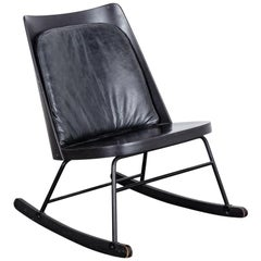 English Black Wood Mid-Century Rocking Chair with Black Leather Cushion