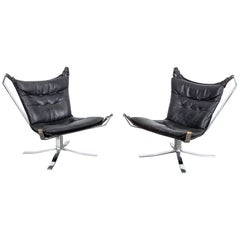 Pair of Black Leather and Chrome Flat Bar 'Falcon' Style Chairs, Denmark