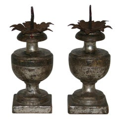 Couple of Late 18th Century Italian Neoclassical Silvered Candlesticks