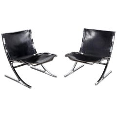 Pair of Leather and Chrome Designed Chairs by Architect Meinhard Von Gerkan