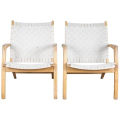 Pair of Beech Frame Lounge Chairs by Bill Potter for Vejle Mobelfabrik, Denmark