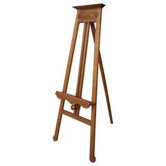 Handmade Arts and Crafts Era Solid Oak Floor Easel / Painting Display Stand