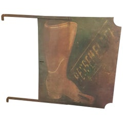 19th Century French Double Sided Boot Repair Sign in Original Paint