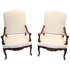 Pair of French Throne Arm Chairs or Fauteuils