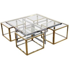 Signed Jean Charles Maison Huge Coffee Table Chrome & Brass, 4 Nesting Tables