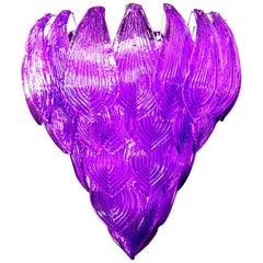 Italian Purple Petals Chandelier, Murano