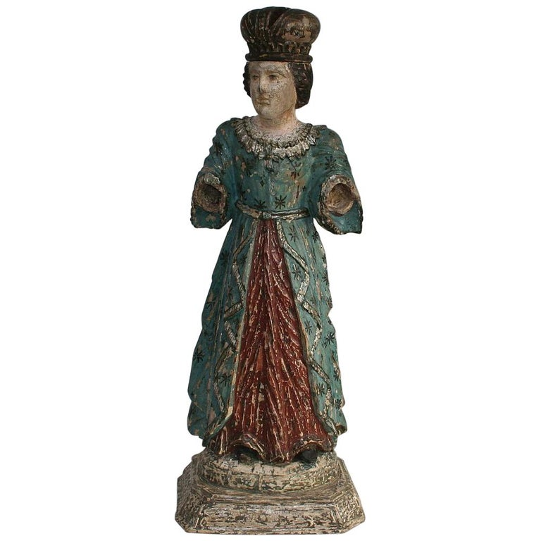 French 19th Century Painted Wooden Madonna or Santos For Sale