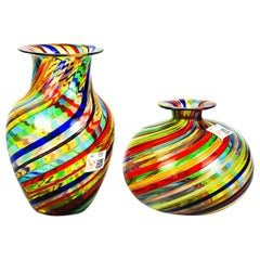 Urban Mid-Century Modern Colored Pair of Murano Glass Vases, 1994