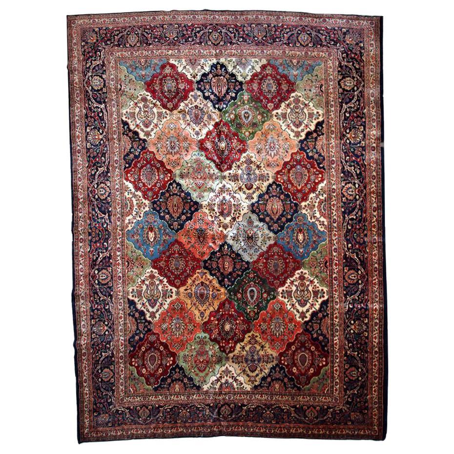 Handmade Antique Kashan Style Rug, 1910s, 1B724