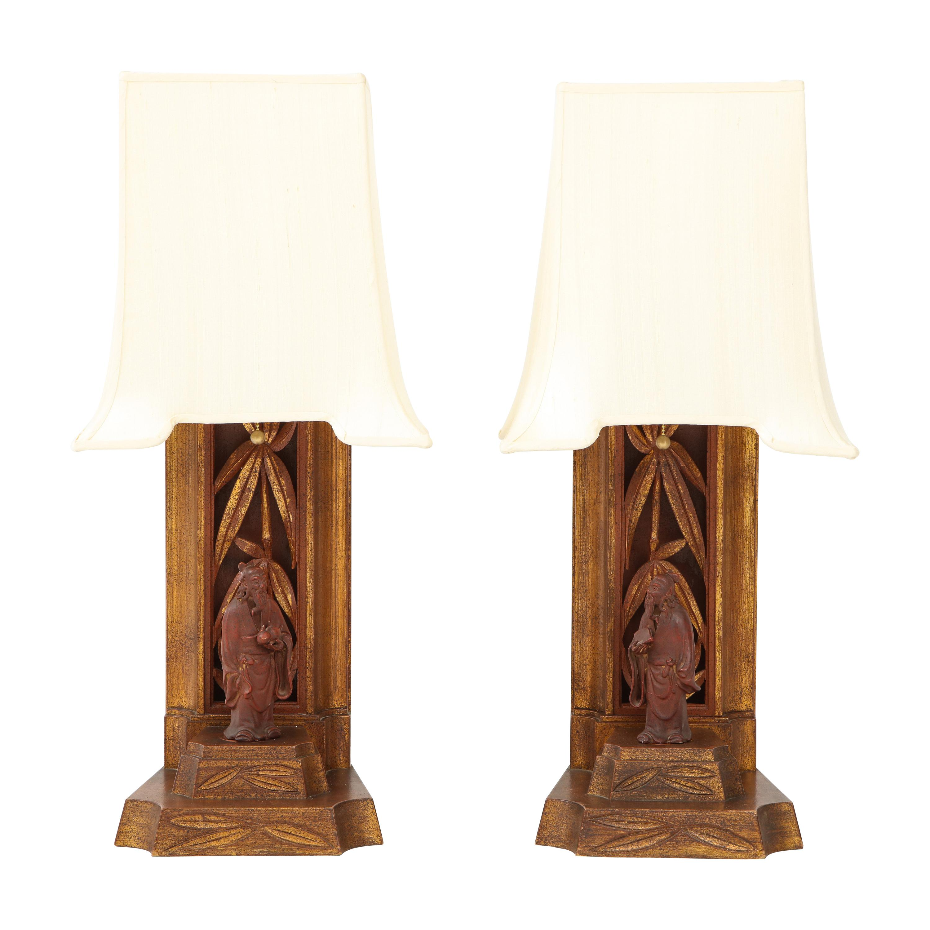 Pair of 1950s James Mont Lamps