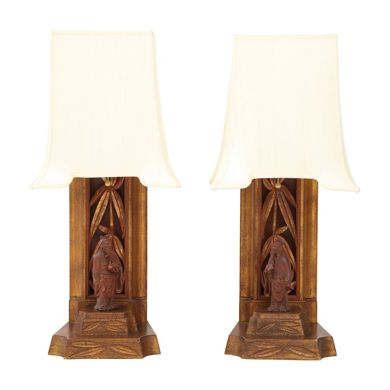 Pair of 1950s James Mont Lamps For Sale