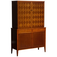 1950s Ferdinand Lundquist Mahogany Buffet Cabinet with Veneer Inlay